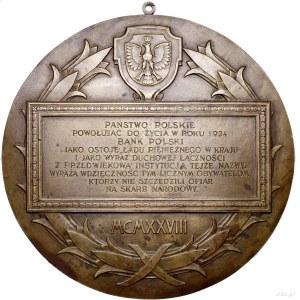 plakieta jednostronna - Bank Polski, 1928; Wieniec, w g...