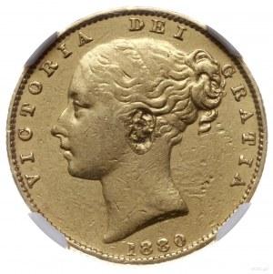suweren 1880 S, mennica Sydney; Aw: Głowa młodej królow...