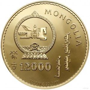 "12.000 tugrików 1993, ""Rok Koguta""; Fr. B4; złoto, 88.9..."