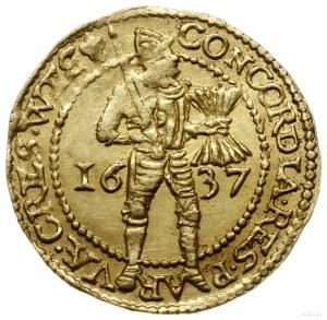 dukat 1637; Aw: W obwódce perełkowej rycerz stojący w p...