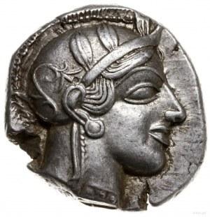tetradrachma, 479-393 pne; Aw: Głowa Ateny w hełmie prz...
