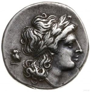 didrachma, 265-240 pne; Aw: Głowa Apollina z długimi wł...