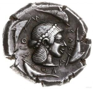 tetradrachma, 475-470 pne; Aw: Jeździec w kwadrydze, tr...