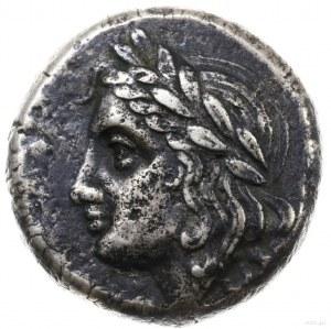 tetradrachma, 355-340 pne; Aw: Głowa Apollina w wieńcu ...