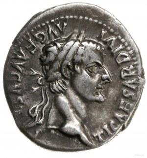 denar, mennica Lugdunum (Lyon); Aw: Głowa cesarza w wie...