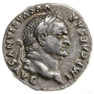 denar, 75, mennica Rzym; Aw: Głowa cesarza w wieńcu lau...