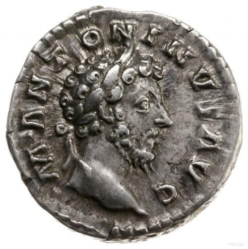denar, 161-162, mennica Rzym; Aw: Popiersie cesarza w w...