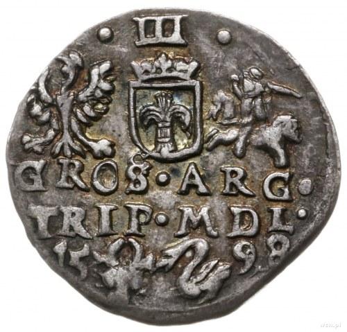 trojak 1598, Wilno; bardzo rzadka odmiana trojaka z her...