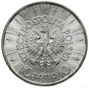 10 złotych 1937, Warszawa; Józef Piłsudski; Parchimowic...