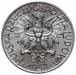 5 złotych 1958, Warszawa; Rybak, odmiana z szeroką cyfr...