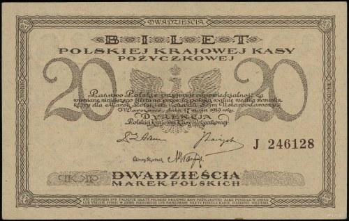20 marek polskich 17.05.1919, seria J, numeracja 246128...