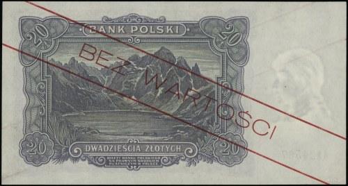 20 złotych 2.01.1928, seria A, numeracja 124567, ukośny...