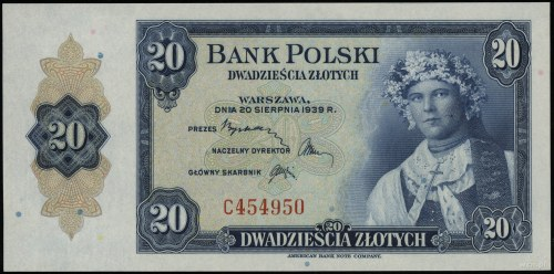 20 złotych 20.08.1939, seria C, numeracja 454950; Lucow...