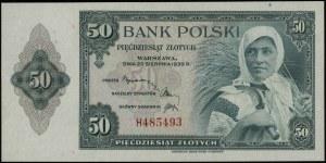 50 złotych 20.08.1939; seria H, numeracja 485493; Lucow...