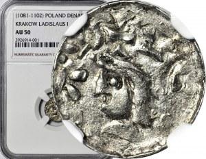 Władysław I Herman 1081-1102, Denar Kraków, druga emisja, NIETYPOWE PĘKATE BUDOWLE