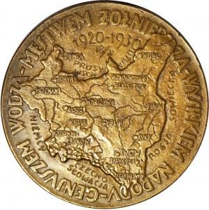 II RP, Medal Dziesiąta rocznica odparcia najazdu Rosji Sowieckiej 1930, Warszawa, J. Aumiller, duży 55mm