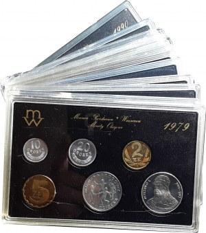 Komplet zestawów rocznikowych, bitych stemplem lustrzanym 1979-1990