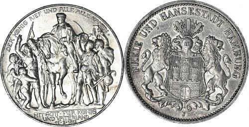 2 szt. Niemcy, 3 marki 1913 100lecie bitwy pod Lipskiem i 2 marki 1910 Hamburg