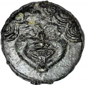 Grecja, Olbia, AE-69, V w. pne, głowa Gorgony / ptak łapiący delfina