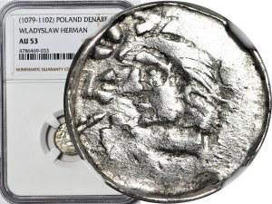 R-, Władysław I Herman 1081-1102, Denar przed rokiem 1086, Kraków, pierwsza emisja, DUŻA GŁOWA, rzadki
