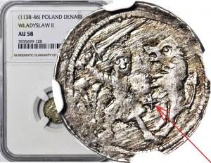 RR-, W. II Wygnaniec 1138-1146, Denar Kraków, Walka z lwem, KRZYŻYK pomiędzy, VDIDZLAVS+