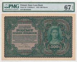 500 marek polskich 1919 - II Serja B, przecinek w numeratorze