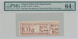 RR-, 10 koron 1918, Bon na cele patriotyczne, Całość - Niepodległość