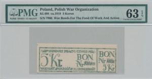 R-, 5 koron 1918, Bon na cele patriotyczne, Całość - Niepodległość