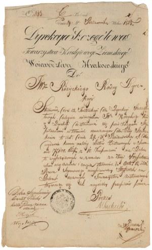 Kielce, Towarzystwo Kredytowe Ziemskie, dokument z 1828 r.