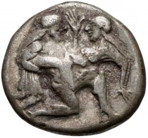 Grecja, Tracja, Thasos, Stater (520-500pne) Satyr z nimfą
