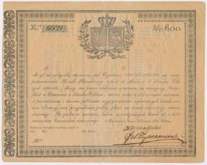 Powstanie listopadowe, Certyfikat Pożyczki POSIŁKI POLSKIE 600 zł 1831