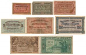Kowno, Komplet nominałowy od 1/2 do 1.000 marek 1918 (8szt)