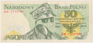 Solidarność, 50 groszy 1982 - ciemnozielony