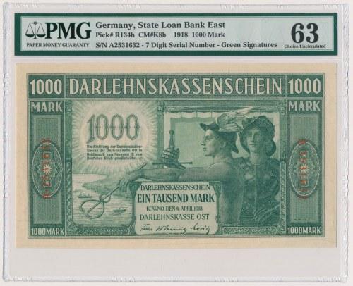 Kowno, 1.000 marek 1918 - numeracja 7-cyfrowa
