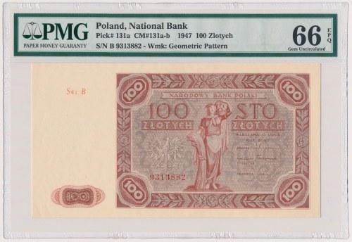 100 złotych 1947 - Ser.B - duża litera