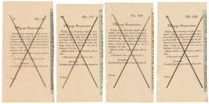 Komplet grzbietów wzorów Obligacji Pożyczki z 23 maja 1833 roku (4szt)