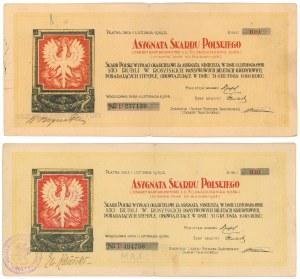 Asygnata Skarbu Polskiego, 100 rubli 1918 - róznice kolorystyczne (2szt)