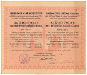 Warszawa, Poż. Inwestycyjna 1921 r. Obligacja na 10.000 mkp