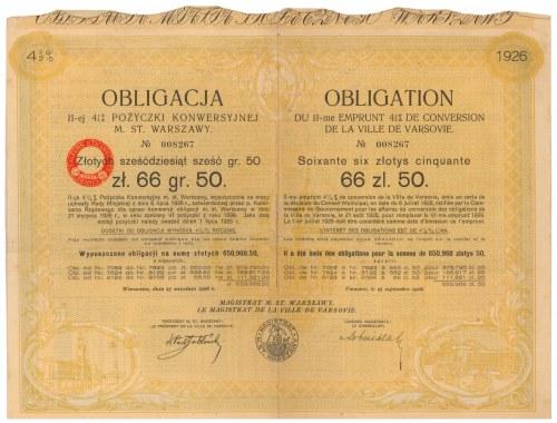 Warszawa II-ga Poż. Konwersyjna, Obligacja 1926 r. na 66.50 zł
