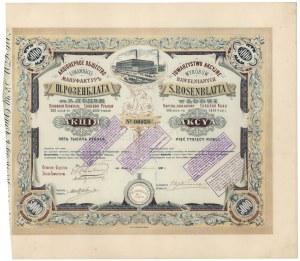Towarzystwo Akcyjne Wyrobów Bawełnianych S. ROSENBLATTA w Łodzi 5.000 rubli 1893