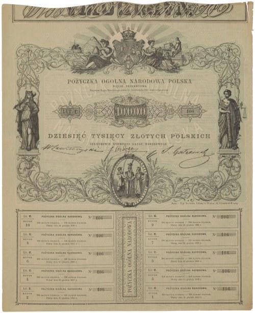 Powstanie Styczniowe, Pożyczka Ogólna Narodowa, Obligacja na 10.000 złotych 1863