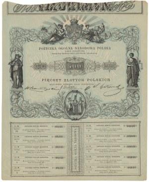 Powstanie Styczniowe, Pożyczka Ogólna Narodowa, Obligacja na 500 złotych 1863