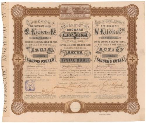 Towarzystwo Browaru W. KIJOK & CIE w Warszawie, 1.000 rubli 1889