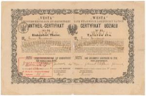 WESTA Bank Wzajemnych Zabezpieczeń Na Życie, Certyfikat Udziału na 100 talarów 1873