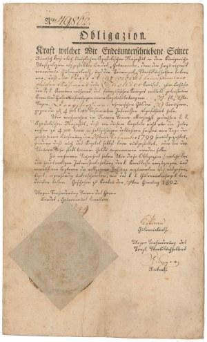 Obligacja Królestwa Galicji Zachodniej dla miasta Książ Wielki 1802