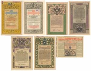 Austria, zestaw obligacji z lat 1868-1918 (7szt)