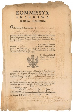 Kommissya Skarbowa Oboyga Narodów, dokument 1792 r.