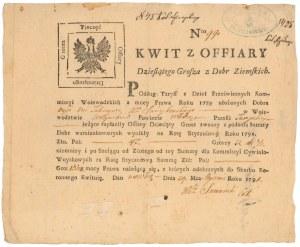 Kwit, Dziesięcina z Dóbr Ziemskich 1791 r.