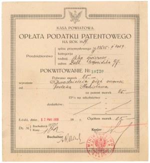 Pokwitowanie opłaty podatku patentowego 1919 r.