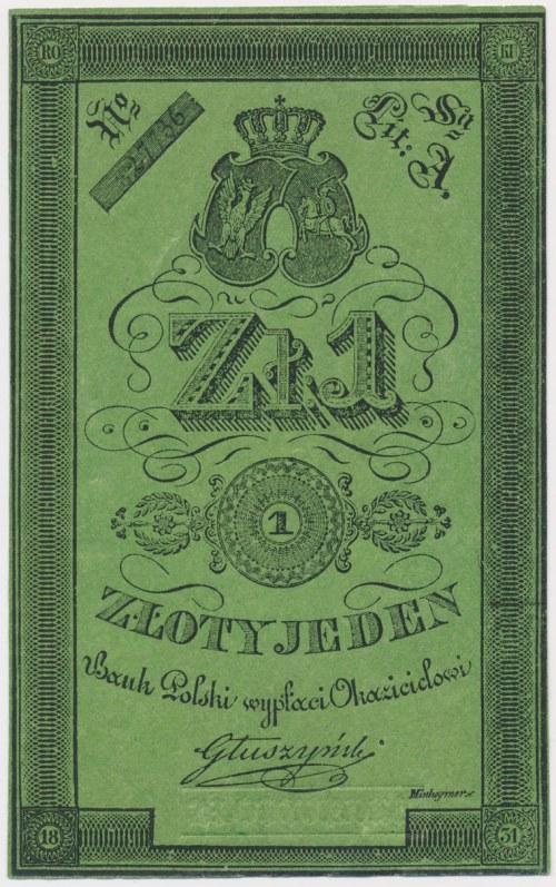 Powstanie listopadowe, 1 złoty 1831 Głuszyński - cienki papier